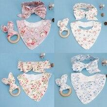 3 шт.; Детские хлопковые Слюнявчики с ушками кролика для прорезывания зубов; повязка на голову; слюнявчик для младенцев; набор для ухода за ребенком