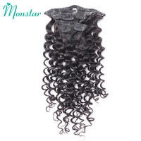 Monstar Peruvian Deep Wave Curly Hair Clip Ins 7Pcs/Set 120G Natural Black Color 12 30 Inch Remy Human Clip In Hair Extensions