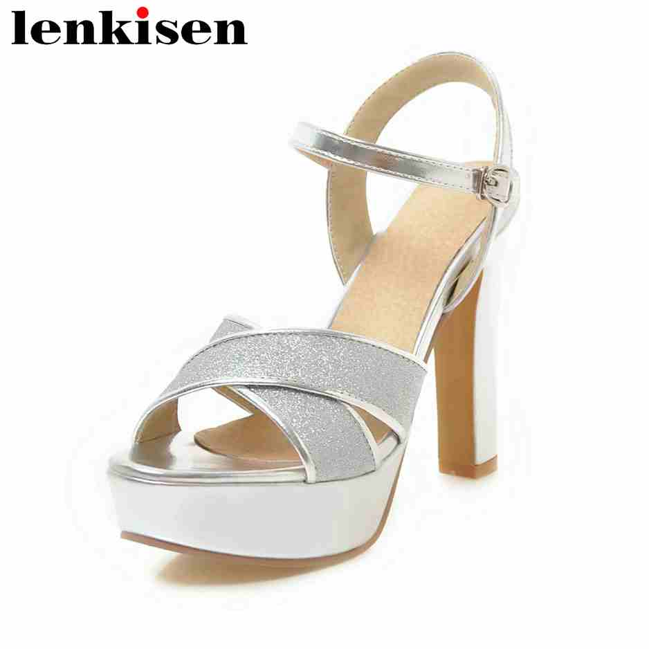 Lenkisen plus size PU peep toe classic office lady shoes women buckle straps super high heels sexy nightclub women sandals L2f2