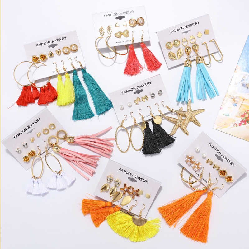 ZOSHI Bohemian Earring Long Tassel Stud Earrings Set For Women Girl 2019 Fashion Geometric Earring Brincos Female Tassel Earring