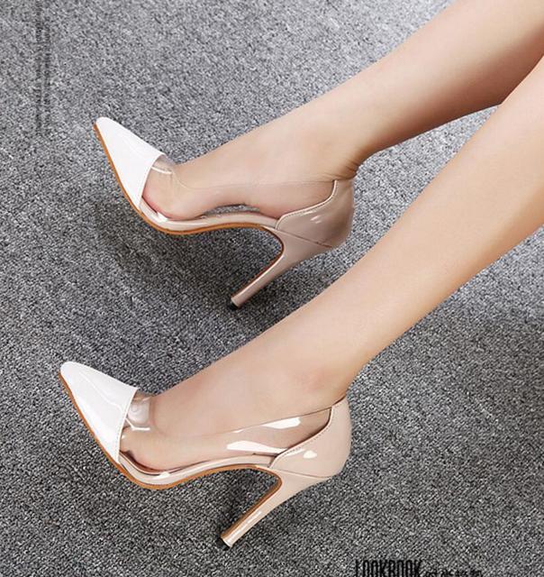 Koovan Женщины Насосы 2017 Новая Мода Женская Обувь Прозрачные Тонкие Заостренные Женщина На Высоких Каблуках Белые Туфли Мелкая Рот Свадебные