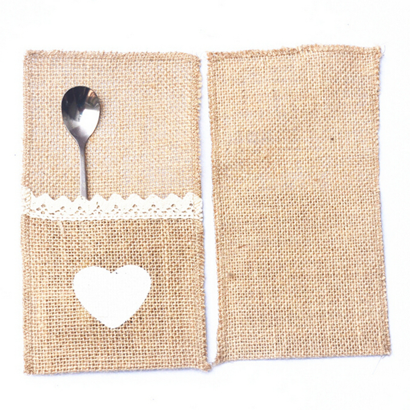 2 Pieces Hessian Burlap Love Lace Jute Cutlery Pocket Burlap 21 *11CM Knife and Fork Bag For Wedding Decoration