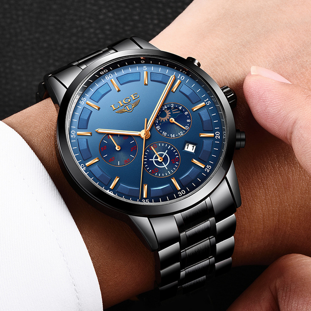 LIGE New Fashion Men Watches Top Brand Luxury Full Steel Business Quartz Watch Men Waterproof Sport Watch Male Relogio Masculino