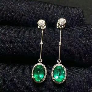 Image 4 - [MeiBaPJ] Naturale Columbia Smeraldo Della Pietra Preziosa Orecchini A Pendaglio Reale 925 Orecchini di Modo dargento Multa Monili di Fascino Per le donne