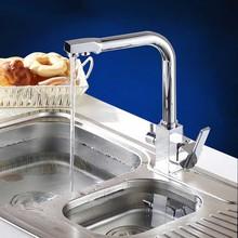 Хромированная отделка 3 разъём(ов) кухня очиститель воды Faucets палуба гора чистая вода расхода воды фильтр смеситель с двойной ручкой