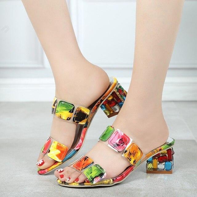 Zapatillas Sandalias Sexy Cristales 41 Elegantes Señoras Zapatos Mujer Tallas Verano Gruesos Ocio Marca Grandes Tacones Bombas 2019 D29YbIeWHE