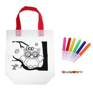 1Non-woven Coloring Pictures kindergarten Graffiti Markers DIY Painted Handbag Child Graffiti Art Material Kit Bag Drawing Toy