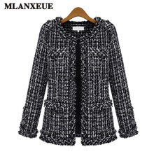 2017 Autumn Slim Woolen Short Jacket Women Simple Check Woman'S Coat Fashion O Collar Dark Buckle Ladies' Jackets Plus Size Tops