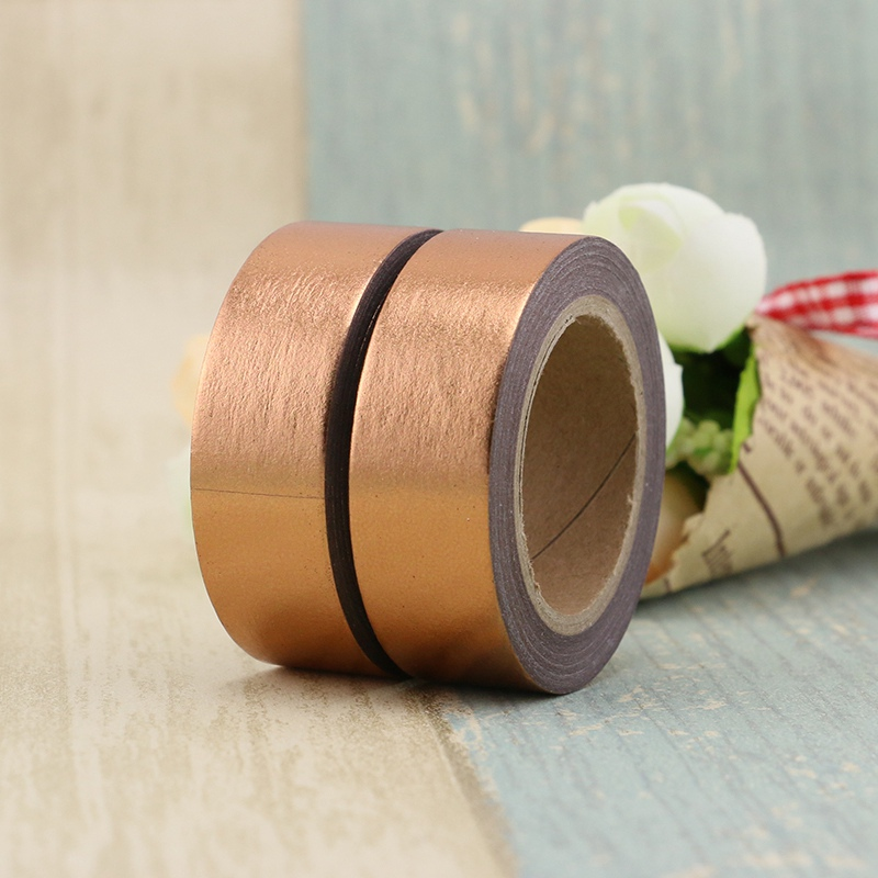 2PCS/lot Decorative Copper Solid Golden Foil Washi Tape Paper For Scrapbook Bullet Journal Adhesive Tape 15mmx10m School Supply