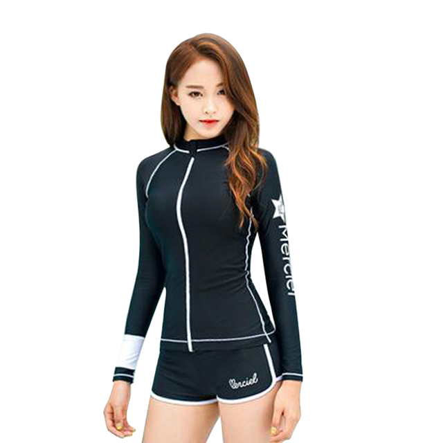 6fae664ca479 2017 Two-Piece Long Sleeve Swimwear Women Newly Designed Sexy Rashguard  Swimsuit Women Wetsuit Surf
