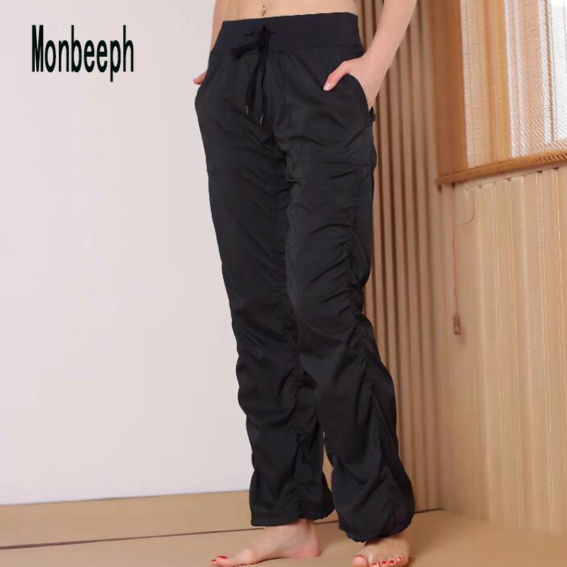 Monbeeph Elastic-Trousers Casual-Pants High-Waist Women Long Straight Wide Loose Female