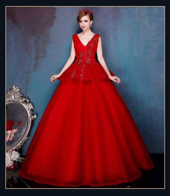 6bd4d0ff39 High Fashion Red Organza Cheap Quinceanera Dresses 2015 Sexy Deep V Neck  Appliques Masquerade Ball Gowns