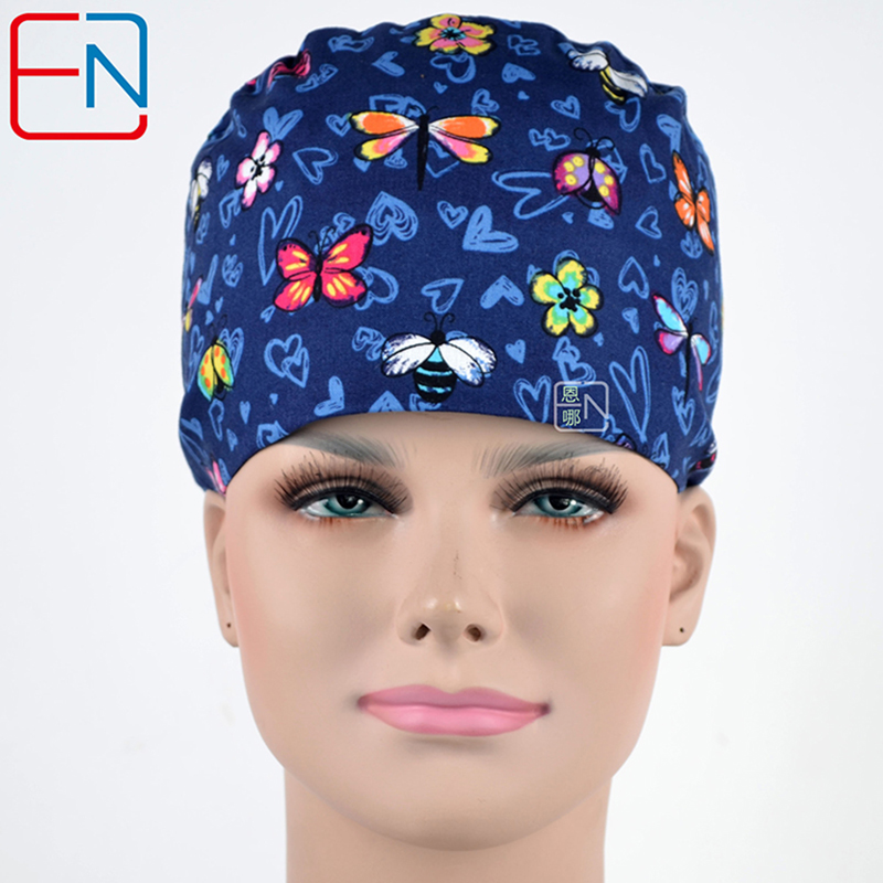 Hennar Surgical Scrubs Caps Masks Women's High Quality Cotton Fabric Material Print Hat Hospital Surgery Medical Scrub Caps Mask