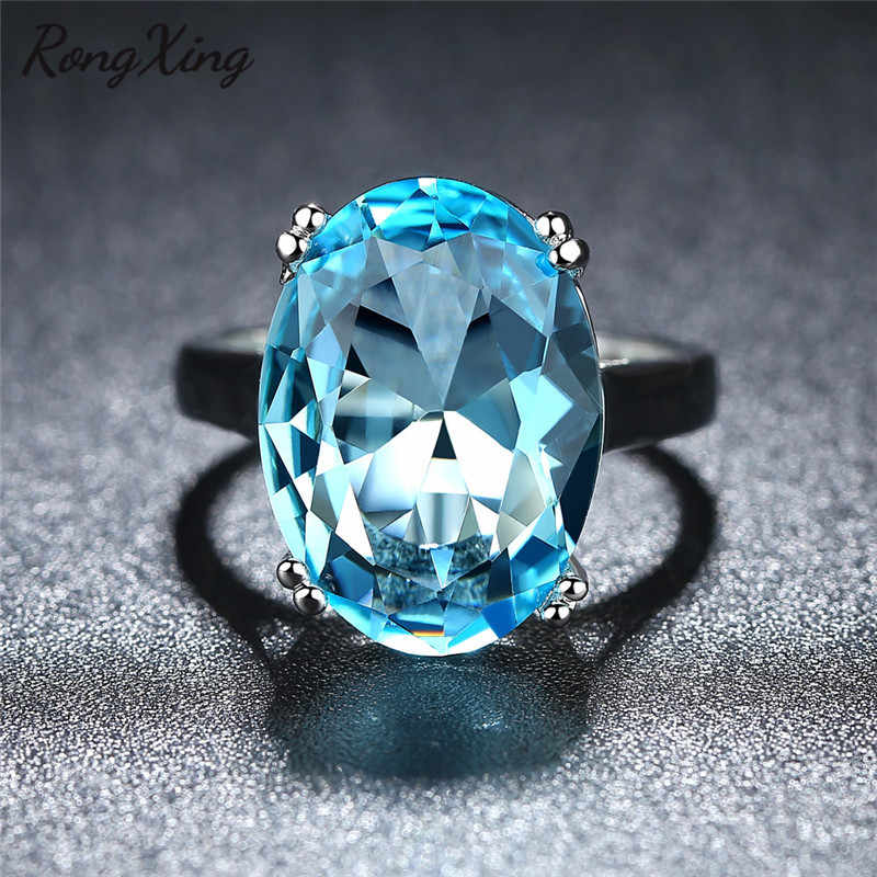RongXing 925 Silver Filled Aqua Blue Birthstone Rings for Women December Birthday Gift Female Simple Fashion Big Oval Stone Ring