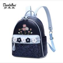 цены на DuoLaiMi Bags For Women 2018 Student Bag Japan and Korean School Foral bolsa feminina PU Travel Women's Shoulder Backpack Bags  в интернет-магазинах