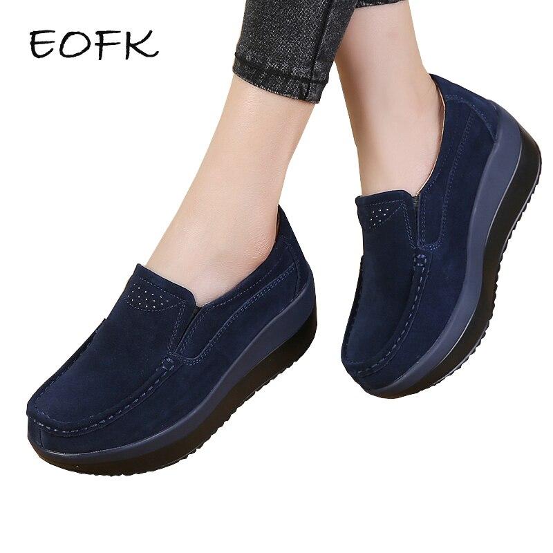 Eofk/Для женщин на плоской платформе Лоферы для женщин Женские Элегантные замшевые мокасины Женская обувь без застежек Мокасины Для женщин синий повседневная обувь