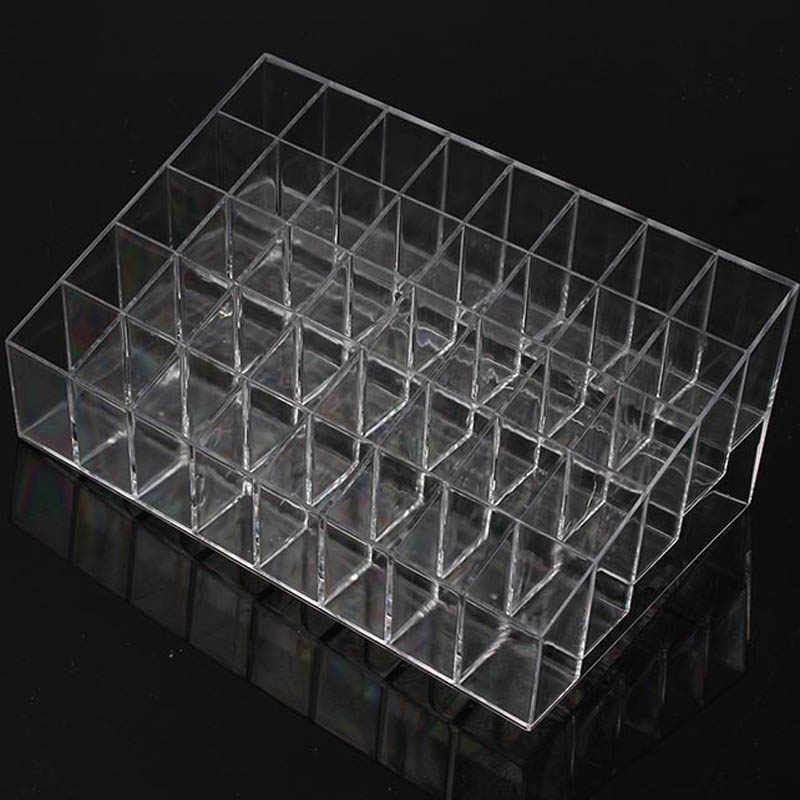 Trapezoid Clear Makeup Display 40 Lattices Lipstick Stand Case Cosmetic Organizer Holder Box Hot Sale High Quality