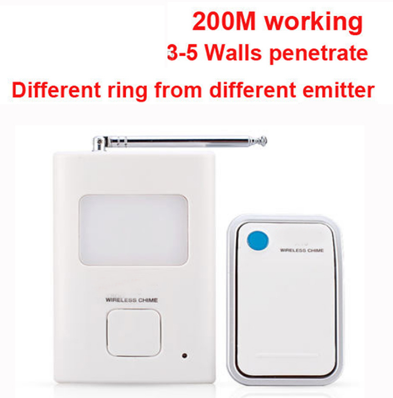 200m work ring bell 1 emitters+1 receivers music doorbell wireless doorbell,wireless door chime bell 36 music door bell 2 receivers 60 buzzers wireless restaurant buzzer caller table call calling button waiter pager system
