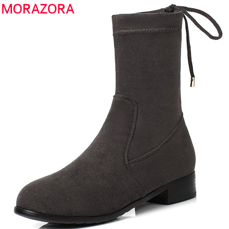 MORAZORA 2018 hot sale boots women round toe ankle boots slip on simple autumn winter booties square heels shoes woman black MORAZORA 2018 hot sale boots women round toe ankle boots slip on simple autumn winter booties square heels shoes woman black