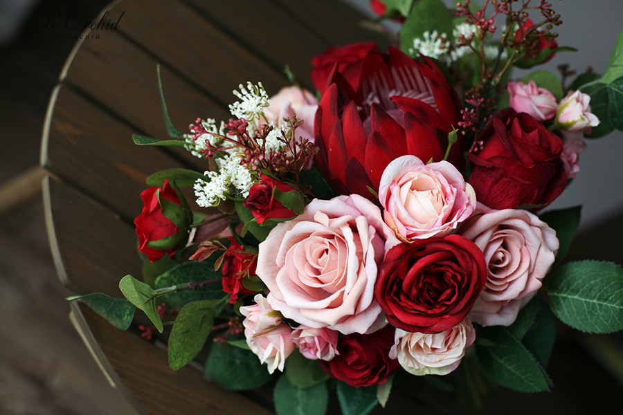 PEORCHID Pink Brides Bouquet Wedding Flowers For Bridesmaids Bridal Bouquet Burgundy Artificial Rose Emperor Silk Flower Bouquet