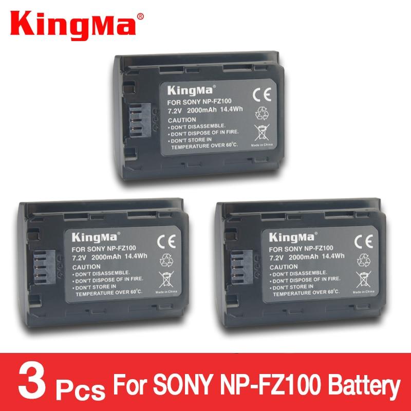 KingMa 3pcs NP-FZ100 NP FZ100 NPFZ100 Battery for a9 a7R III R MARK 3 a7 III MARK 3 9 9S 9R