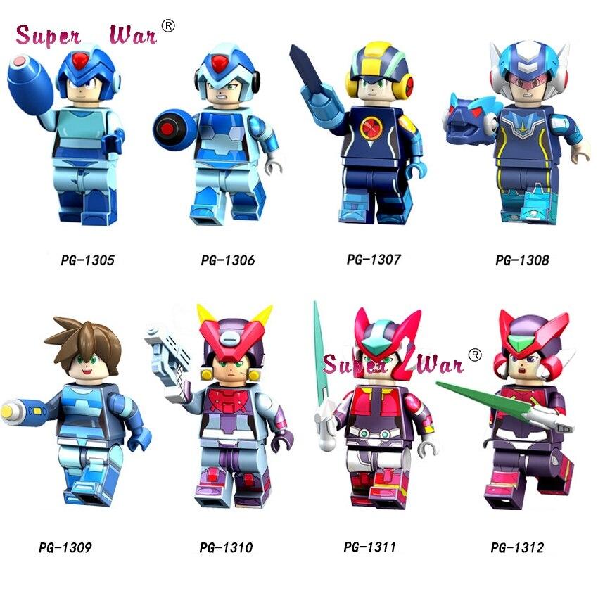 50pcs Cartoon Movie Tv Super Heroes Mega Man Yuanzu Rockman Ax Light Hot Bucket Meteor Figures Building Block For Children Toy And Digestion Helping Model Building