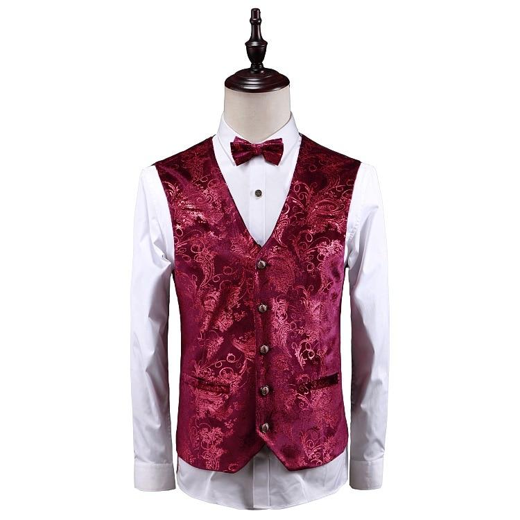 Роскошный красный цветочный стимпанк костюм из 3 предметов с узором пейсли, мужские костюмы на свадьбу, выпускной, с брюками, мужской облегающий сценический костюм, Homme - 3