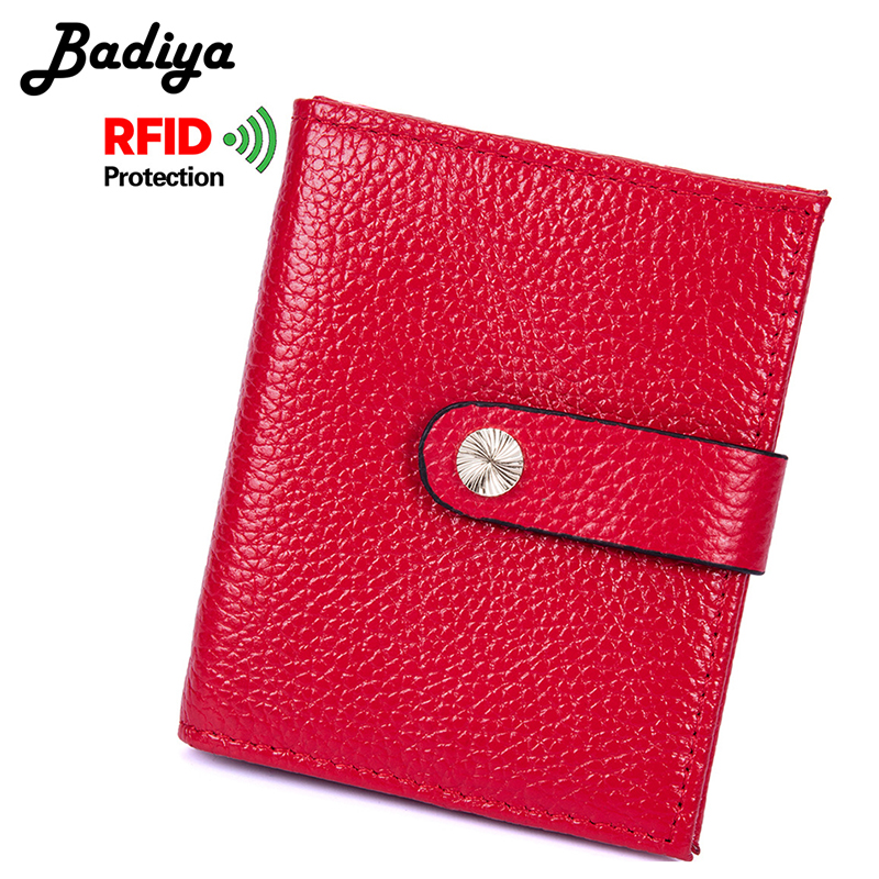 Hasp RFID Blocking Real Genuine Leather Bifold Wallet for Women Lady Fashion Short Wallet Small Credit Card Holder Purse