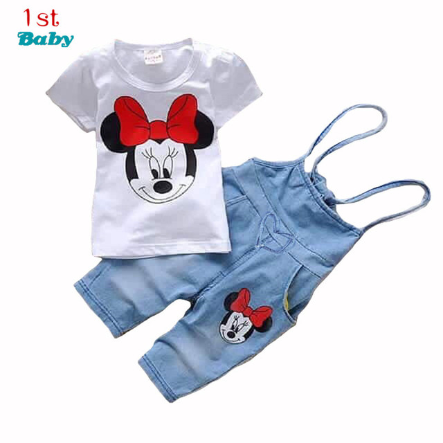 2015 Brand Baby clothes Girls Minnie Mouse suit Summer cotton Kids 2-pcs sets T Shirt+Jeans Overalls Girl Children Clothing Set