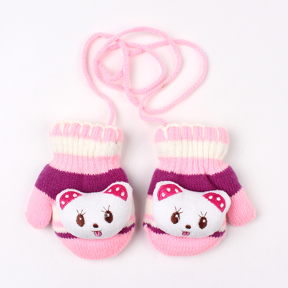 cute cartoon baby girl glove winter bear stripe print. Black Bedroom Furniture Sets. Home Design Ideas