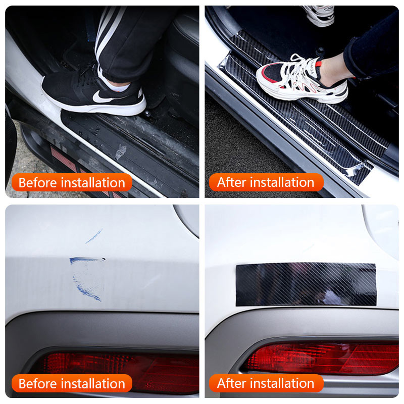 Image 5 - Car Styling Carbon Fiber Wrap 5D Car Door Protector Car Door Sill Strips Protector Carbon Fiber Vinyl Film Auto Bumper Stickers-in Car Stickers from Automobiles & Motorcycles