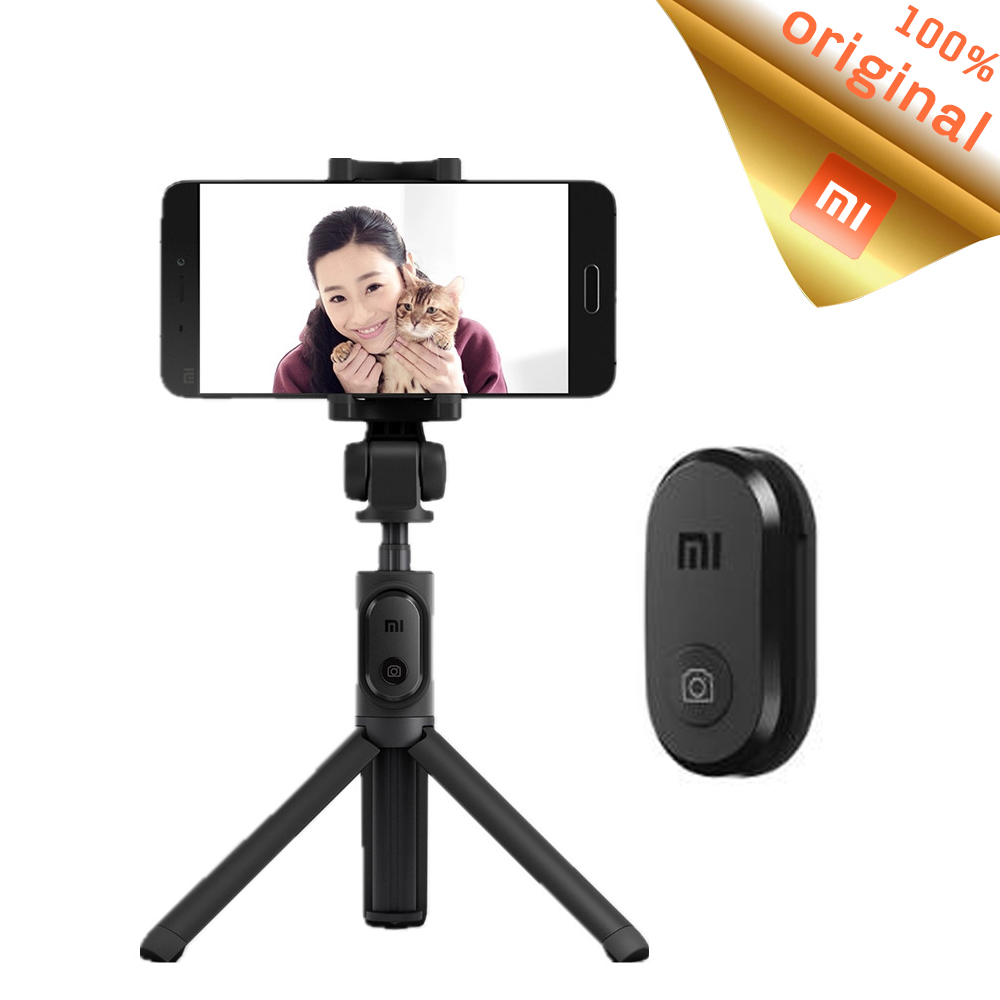 Prix pour D'origine bluetooth xiaomi pliable trépied selfie bâton manfrotto poche selfiestick avec obturateur sans fil pour android et iphone