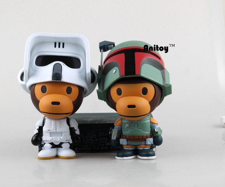 ФОТО Star Wars Green/White Baby Monkey Cos Stormtrooper PVC Action Figure Collectible Model Toy 16cm KT069