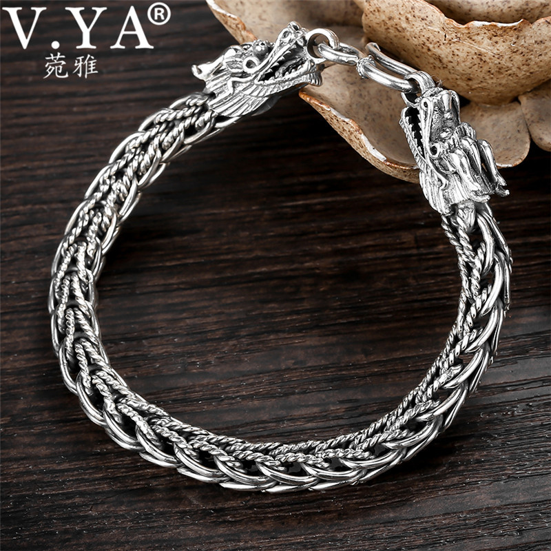 9d3ab3be8cf592 Biker Bracelet 925 Sterling Silver Dragon Bracelets Men Link Chain High  Polished Handmade Vintage Punk Jewelry Men's Gift