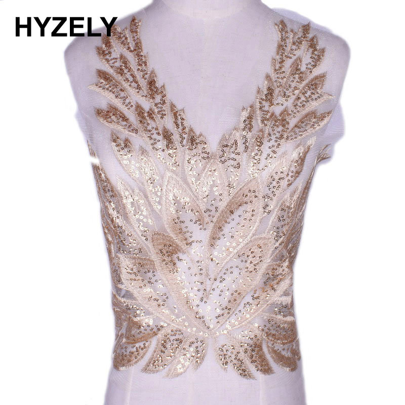 Gold Flower Sequin Body Embroidery Neckline Lace Applique Trimmings Collar for Evening Dress Sewing DIY Scrapbooking Patch NL221