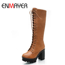 ENMAYER Black Yellow  BIG SIZE 34-43 Lace-Up Mid-Calf women boots shoes new Square heel High boots Winter fashion platform pumps 18cm sale sexy women ankle boots high heel shoes winter fashion lace up with platform pumps ladies boots on sale big size 34 46