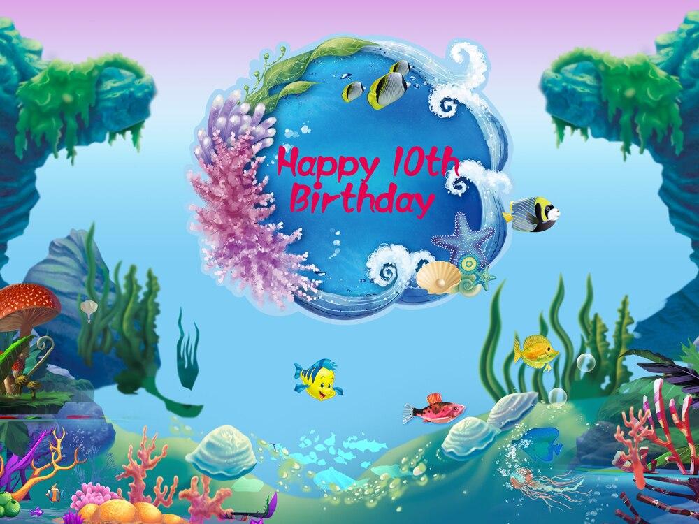 2019 Nieuwste Ontwerp Huayi Fotografie Achtergrond Cartoon Kleine Zeemeermin Achtergronden Voor Fotostudio Dessert Tafel Decoratie Baby Shower W-817