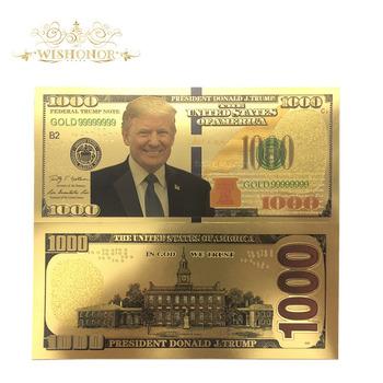 Prezenty pamiątkowe dla 10 sztuk partia dla nicea stany zjednoczone Donald Trump banknotów 1 000 banknot w 24 K złoto złota folia pieniądz papierowy na prezenty tanie i dobre opinie FGHGF Antique sztuczna Patriotyzmu Pozłacane 5days after you paid America Souvenir collection Gold