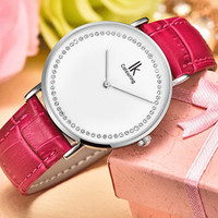 Women S Simple Quartz With Diamond Waterproof Red Leather Strap Wrist Watch NVT98 With Gift Box