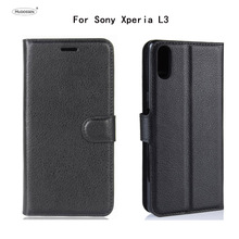 лучшая цена HUDOSSEN For Sony Xperia L3 I3312 I4312 I4332 Case Luxury Phone Protective Case Coque For Sony L3 Flip Cover Wallet Leather Bags