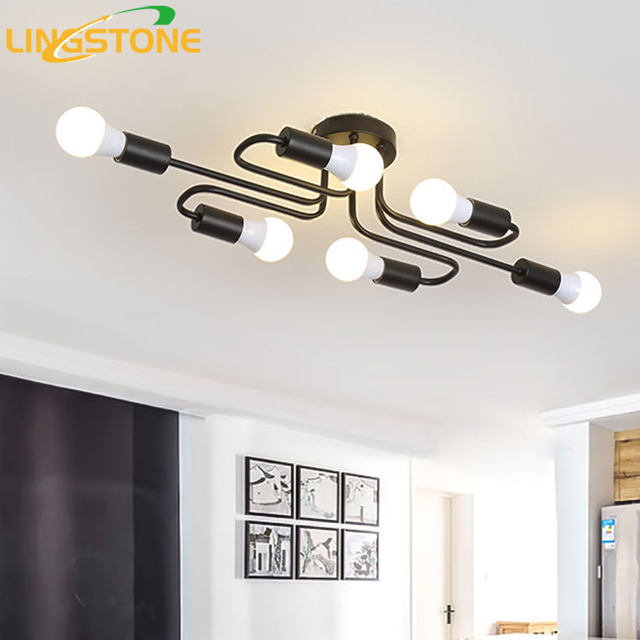Vintage Plafonniers Noir Fer Tube Plafond Lampe Loft Industriel