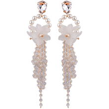 Fashion Korean earrings for women and girls Long Statement Beaded Tassel Drop Earrings Women Jewelry