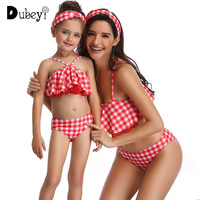 Holiday Plaid Family Look Mom and Baby Swimwear Bikini Set Plaid Checks Mother Daughter Outfit Baby Clothing Beach Wear