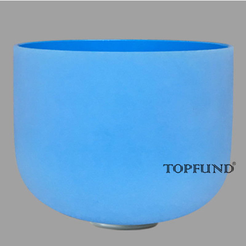 TOPFUND G Note Throat Chakra Blue colored Frosted Quartz Crystal Singing Bowl 10