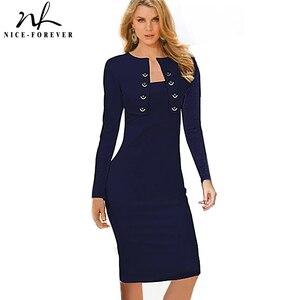 Image 1 - Женское Деловое платье Nice forever, зимнее винтажное облегающее платье карандаш с длинным рукавом и пуговицами, модель b10, 2019