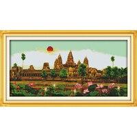 Amor Eterno Navidad Angkor Wat algodón ecológico chino Cruz puntada kits estampado 11 CT 14 ct nuevo precio promoción años
