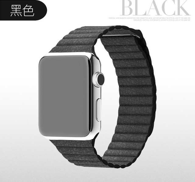 luxury genuine leather band for Apple Watch band durable bracelet wrist band watch fashion band with metal clip adapter