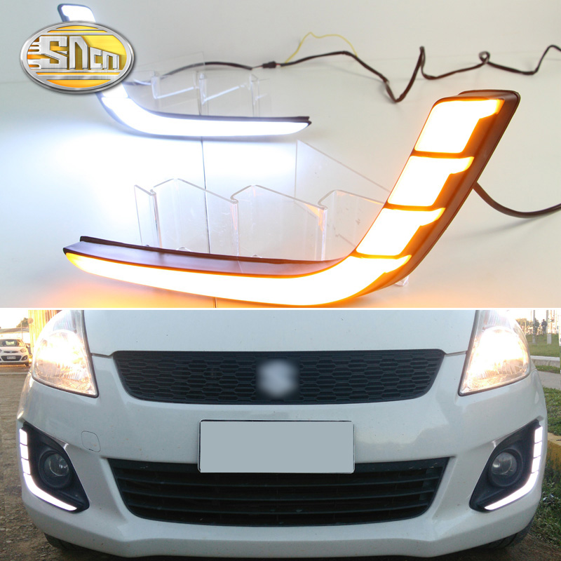For Suzuki Swift 2014 2015 2016,Yellow Turning Signal Style Relay Waterproof ABS Case Car DRL 12V LED Daytime Running Light SNCN