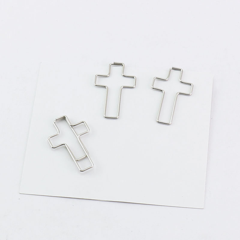 TUTU Free Shipping Cross Crucifix Shaped Paper Clips Great For Paper Clip Collectors Or Religious Gift (sliver 50 Count) H0228