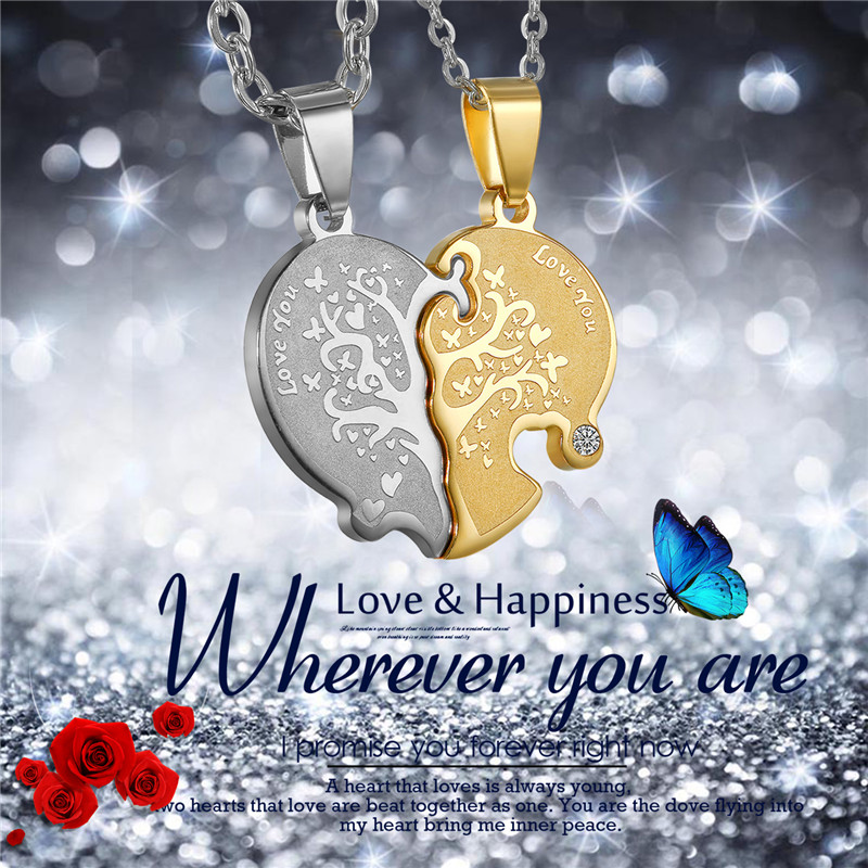 2pc Valentines Day Boniskiss Broken Heart Love You Life Tree Pendant Necklace Women Lovers Couples Charm Jewelry Xmas Gifts ...